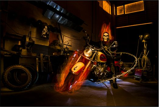 Photo free ghost rider, room, motorcycle