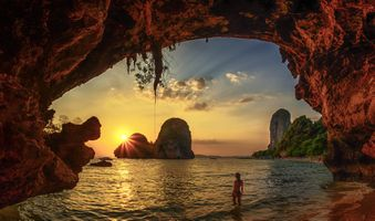 Бесплатные фото Krabi,Thailand,Beach cave sunset Краби,Таиланд,Закат на пляже,море,океан