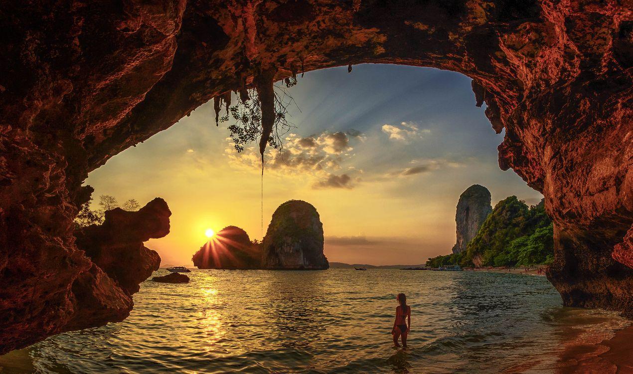 Фото бесплатно Krabi, Thailand, Beach cave sunset Краби - на рабочий стол