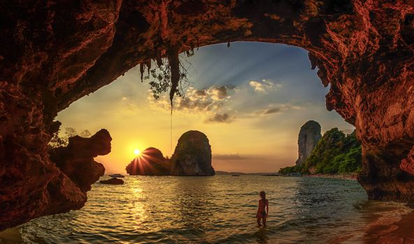 Photo free Krabi, Thailand, Beach cave sunset Krabi