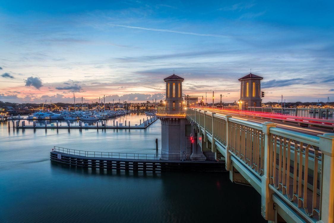 Обои Сант Августин, Флорида, порт, мост, закат, пейзаж на телефон | картинки пейзажи