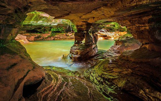 Фото бесплатно пещера, камни, вода