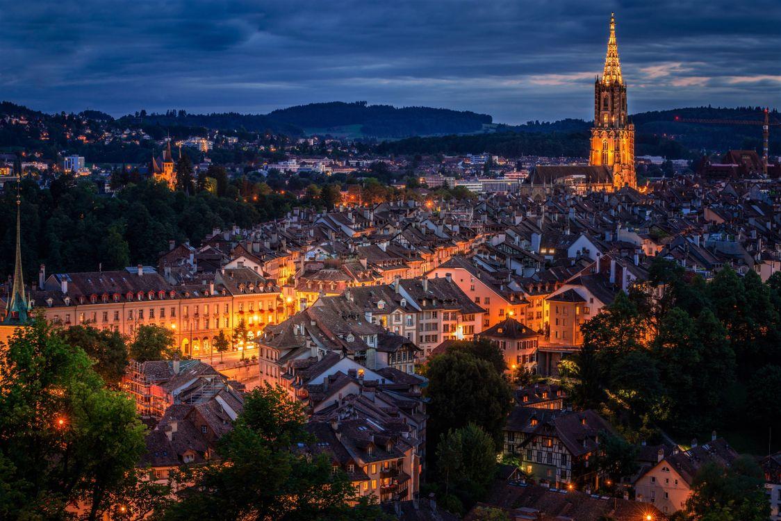 Фото швейцария берн ночь городской пейзаж - бесплатные картинки на Fonwall