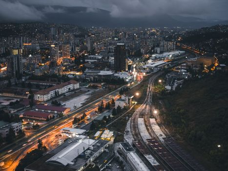 night city, top view, buildings, railway