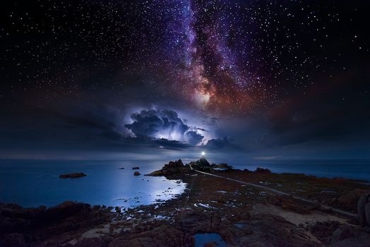 Photo free The Milky Way and the Storm, night, sea
