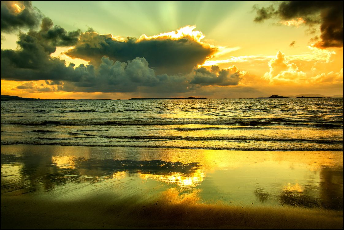 Фото бесплатно солнце, волны, пляж - на рабочий стол
