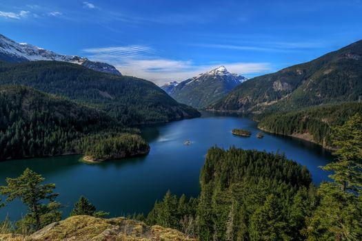 Фото бесплатно Озеро Диабло, Diablo Lake, Washington, United States, North Cascades, Национальный парк Северные Каскады, горы, лес, деревья, природа, водоём, пейзаж