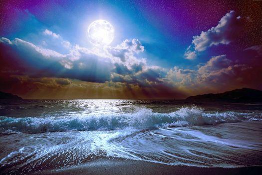 Бесплатные фото море,пляж,луна