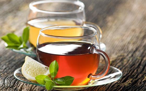 Фото бесплатно чай, лимон, листья