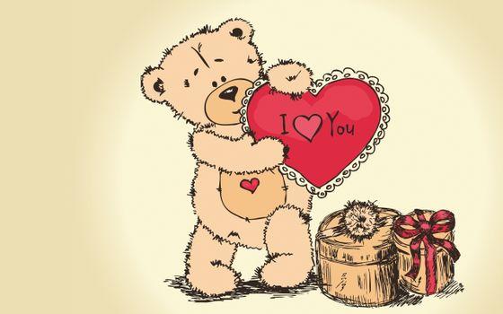 Фото бесплатно плюшевый мишка, сердце, подарок