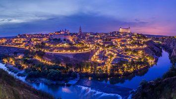 Бесплатные фото Толедо,Испания,ночь,огни,иллюминация