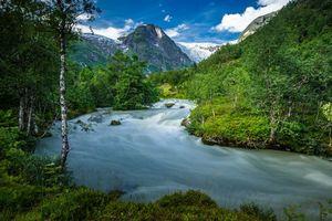 Фото бесплатно Норвегия, горы, река