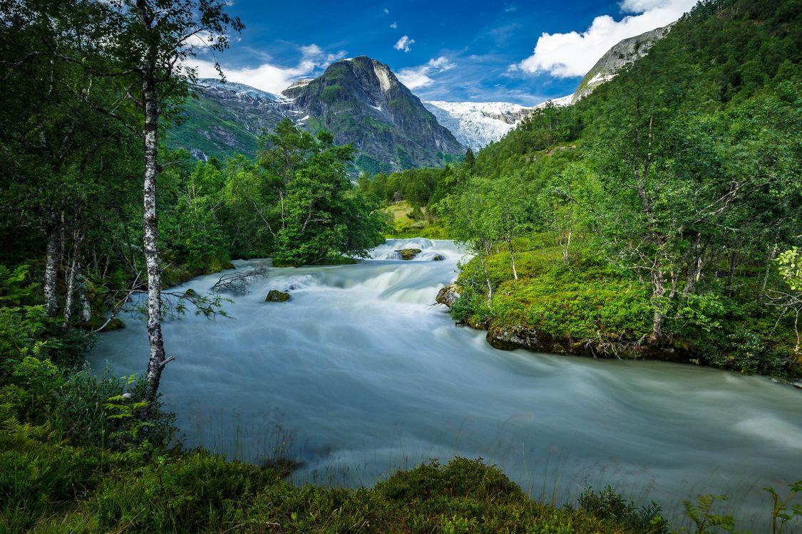 Фото бесплатно Норвегия, горы, река, течение, деревья, пейзаж, пейзажи