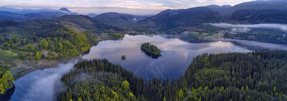 Фото бесплатно Панорама, Лох-Арда, Троссач Лох-Ломонд, национальный парк Троссахс, Шотландия, Бен Ломонд, горы, озеро, остров, деревья, пейзаж