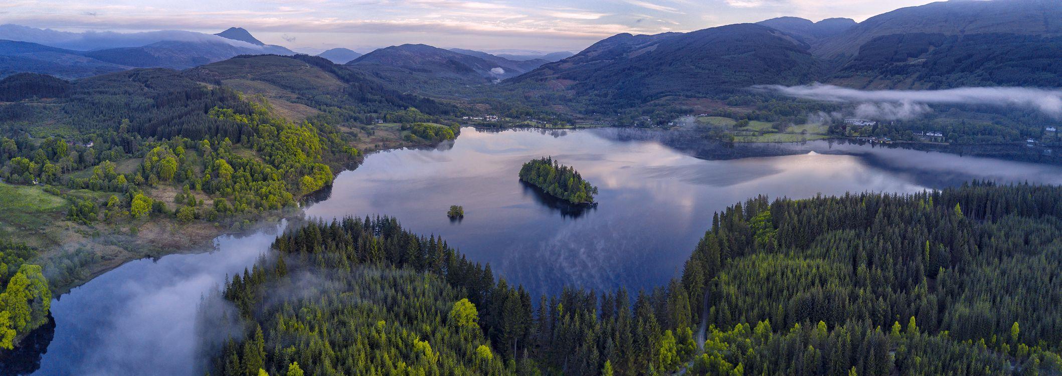Фото бесплатно Панорама, Лох-Арда, Троссач Лох-Ломонд, национальный парк Троссахс, Шотландия, Бен Ломонд, горы, озеро, остров, деревья, пейзаж, пейзажи