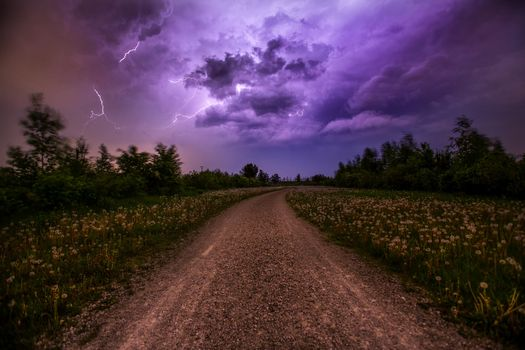 Фото бесплатно дорога, деревья, молния