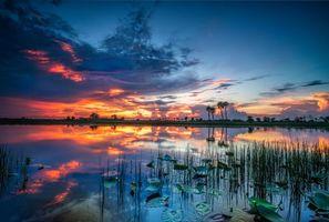 Фото бесплатно закат, озеро, небо, природа, пейзаж