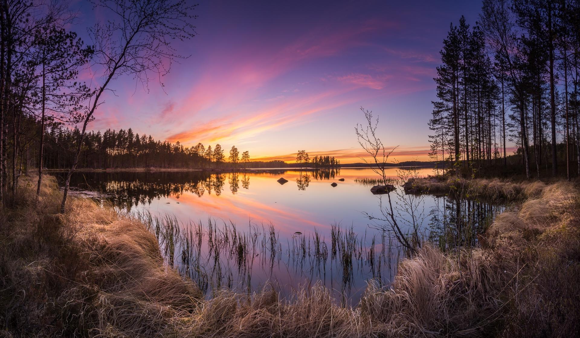 Обои Финляндия, закат, озеро, берег