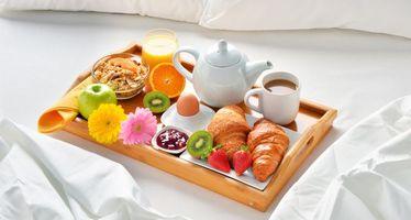 Заставки завтрак, кофе, фрукты, ягоды