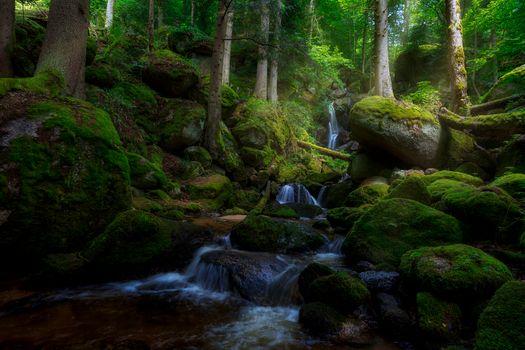 Фото бесплатно водопад, камни, Creek