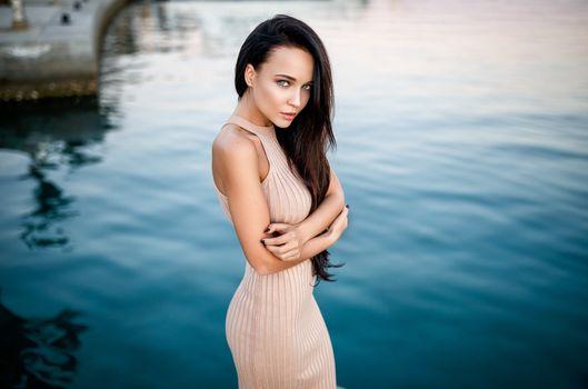 Photo free Angelina Petrova, blue eyes, dress