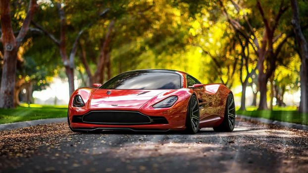 Photo free Aston Martin, front view, red