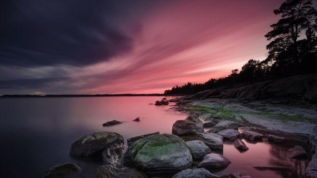 Фото бесплатно закат, сумерки, побережье