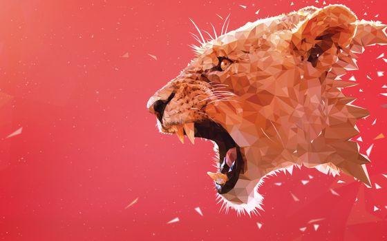 Фото бесплатно тигр, рев, низкий поли