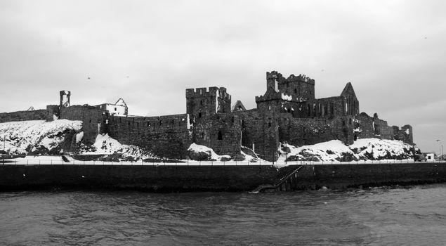 Photo free sea, black and white, castle