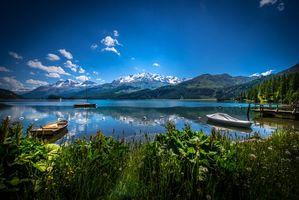 Фото бесплатно Вид на озеро Сильзерзее, Швейцария, лодки