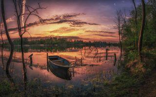 Бесплатные фото закат,сумерки,озеро,лодка,деревья,силуэты,отражение
