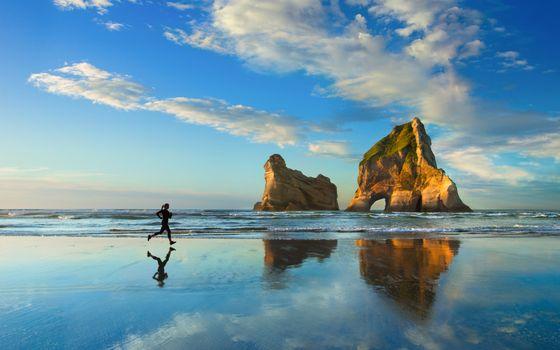 Фото бесплатно девушка, бег, море