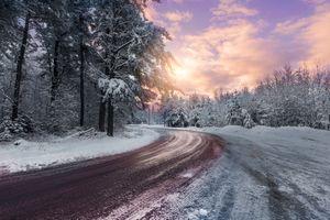 Фото бесплатно закат, зима дорога, зима