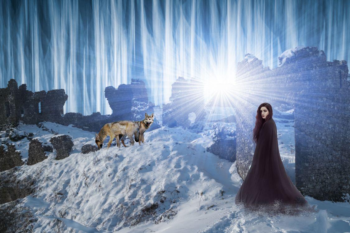 девушка и волки · бесплатное фото