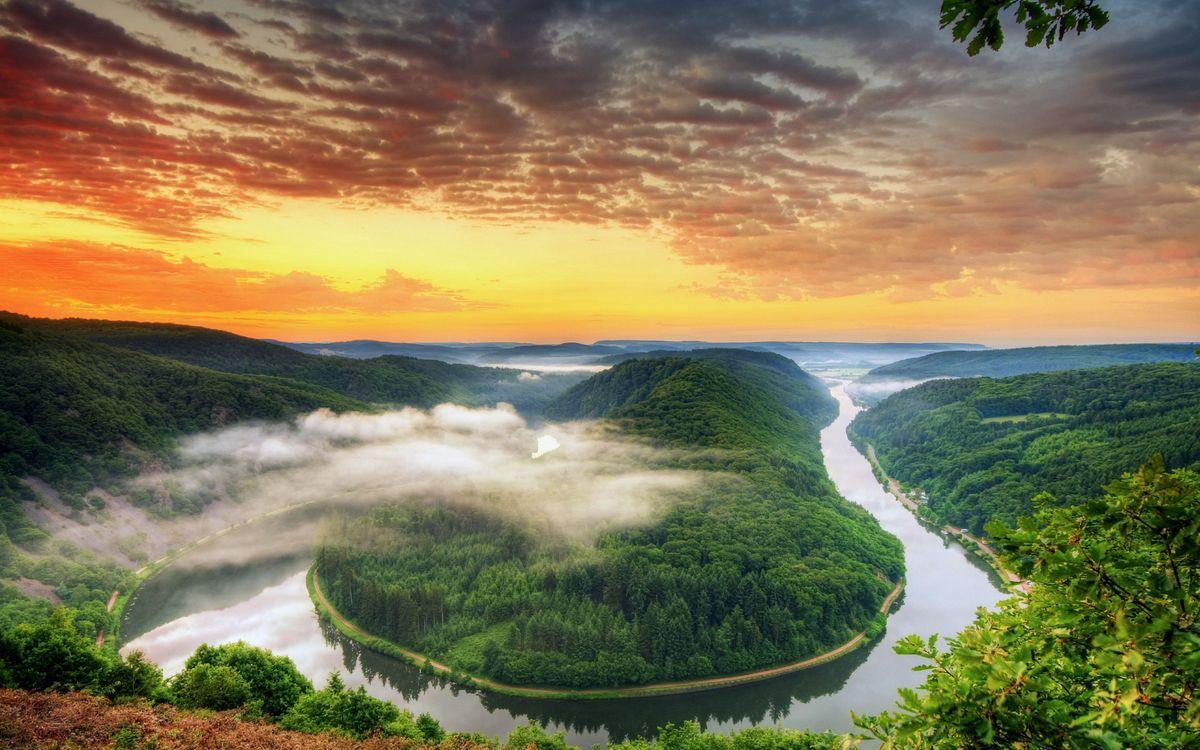 Фото бесплатно Петля Саар, Германия, река, закат, пейзаж, Петля реки Саар в Метлахе, пейзажи