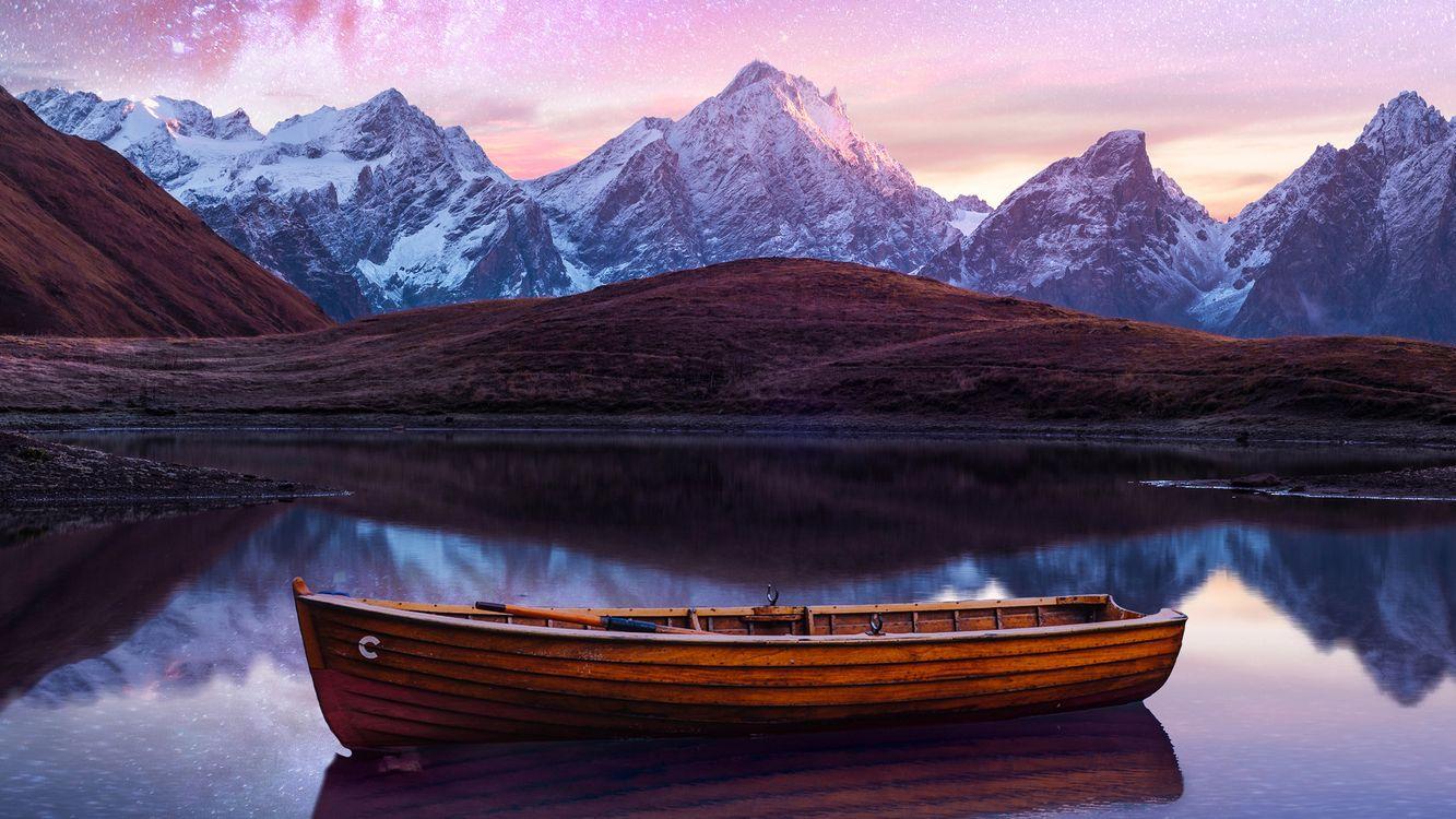 Фото бесплатно лодка, ночь, небо - на рабочий стол