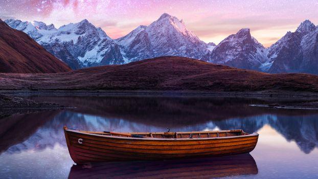 Photo free boat, night, sky