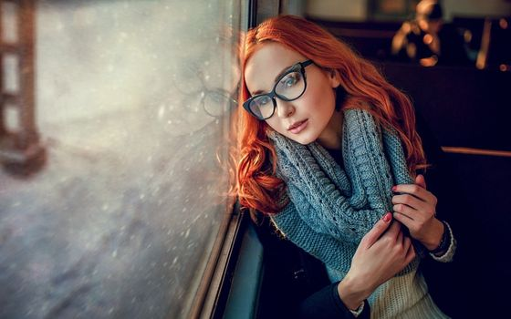 Photo free redhead, glasses, window