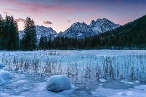 Бесплатные фото Берхтесгаден,Bavaria,Германия,озеро,зима,горы,деревья