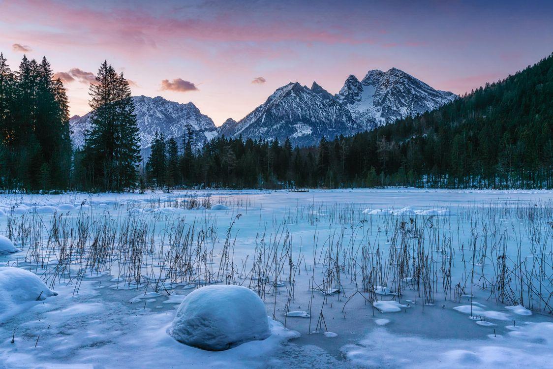 Фото бесплатно Берхтесгаден, Bavaria, Германия, озеро, зима, горы, деревья, пейзаж, пейзажи
