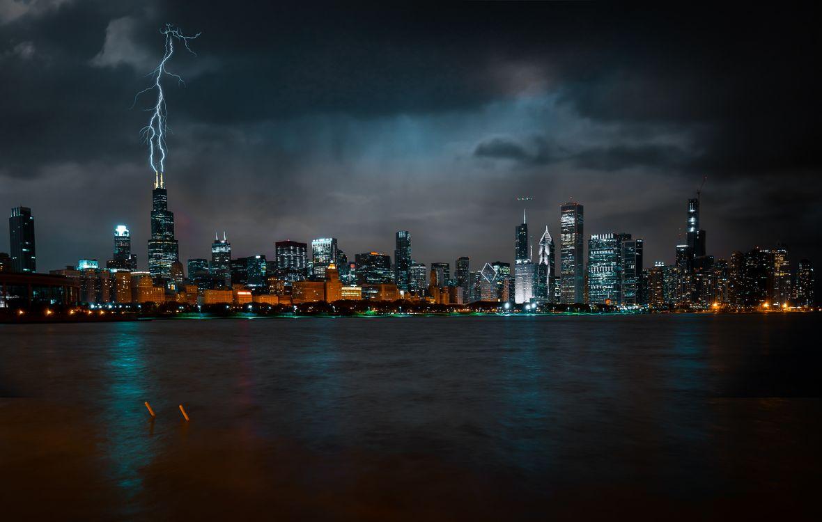 Фото бесплатно Чикаго, ночь, небоскребы - на рабочий стол