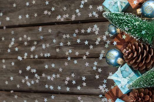 Фото бесплатно новогодние звездочки, текстура, шишка