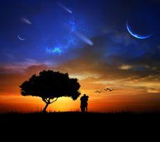 Бесплатные фото закат,поле,дерево,люди,влюблённые,пара,планета