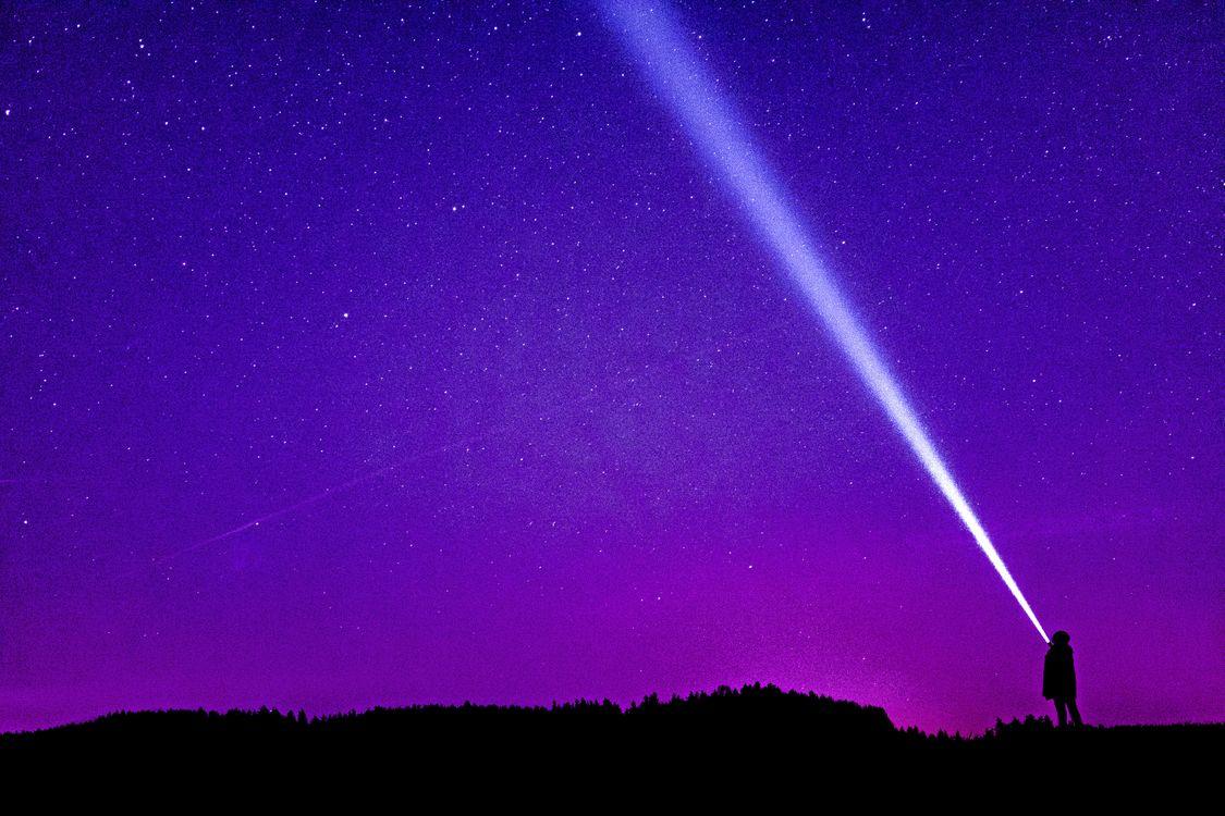 Фото бесплатно звездное небо, силуэт, человек - на рабочий стол