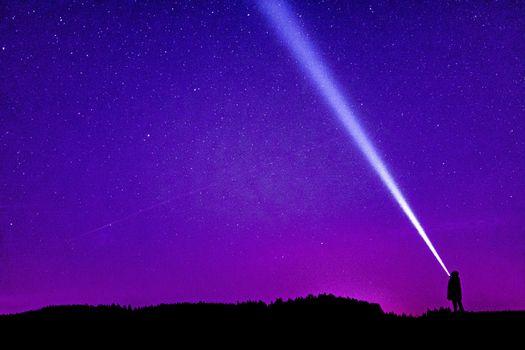 Фото бесплатно звездное небо, силуэт, человек