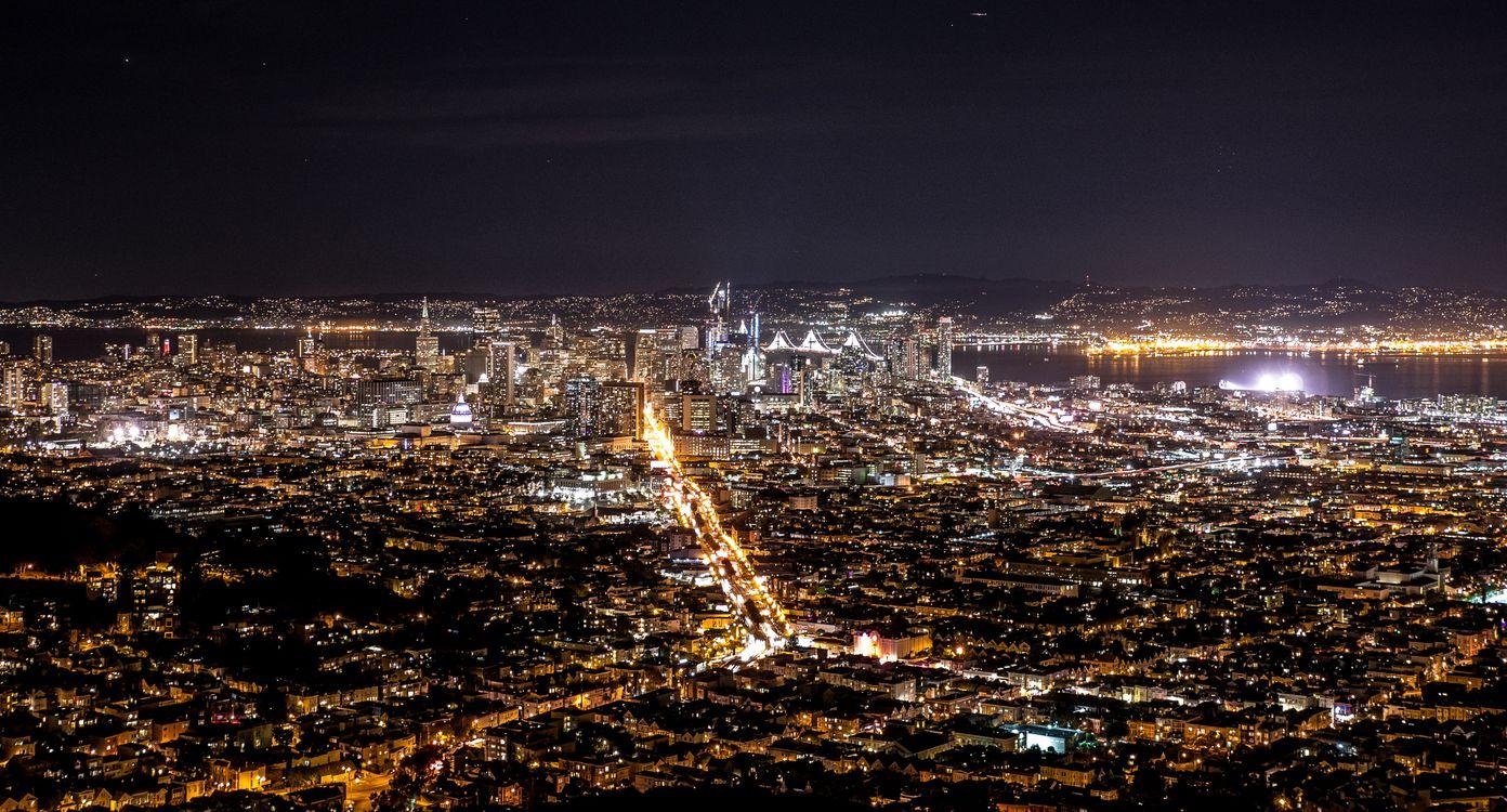 Фото бесплатно ночной город, вид сверху, огни города, night city, top view, city lights, город