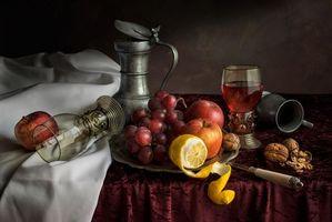 Бесплатные фото стол, фрукты, виноград, лимоны, натюрморт, еда