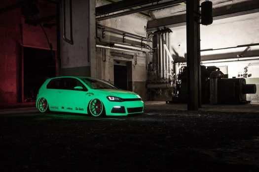 Photo free volkswagen golf, green, side view