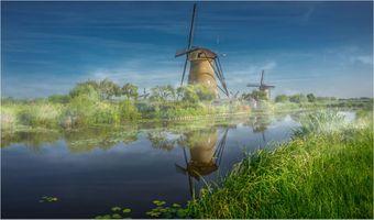 Бесплатные фото голландские ветряные мельницы,Роттердам,Нидерланды,канал,трава,растения,природа