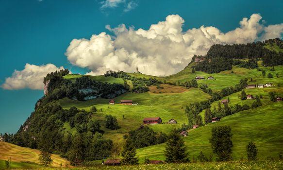 Фото бесплатно Швейцария, горы, деревня